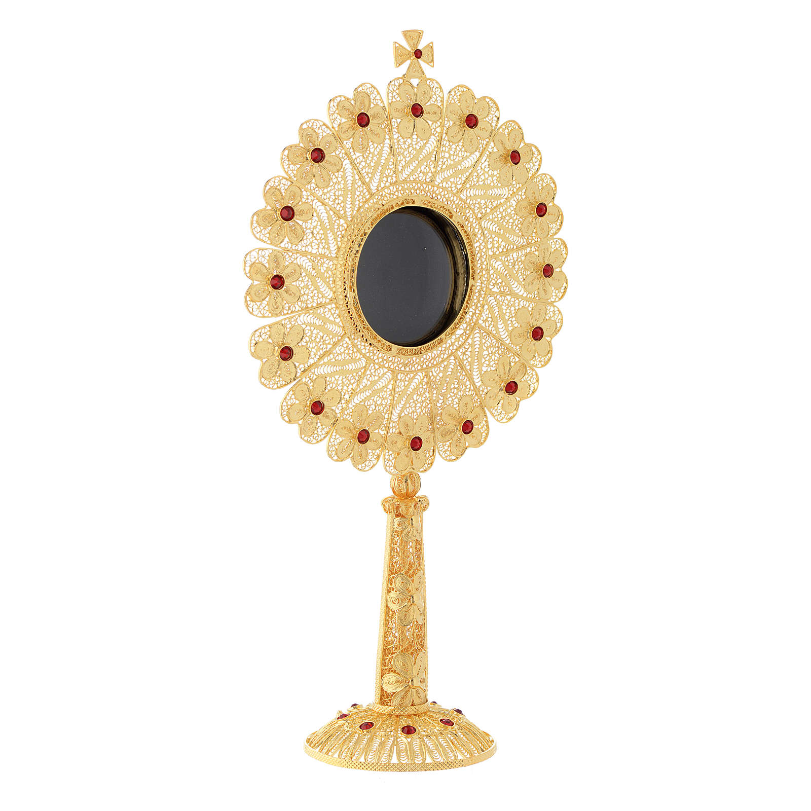 Reliquiario argento 800 dorato strass altezza 24 cm 4
