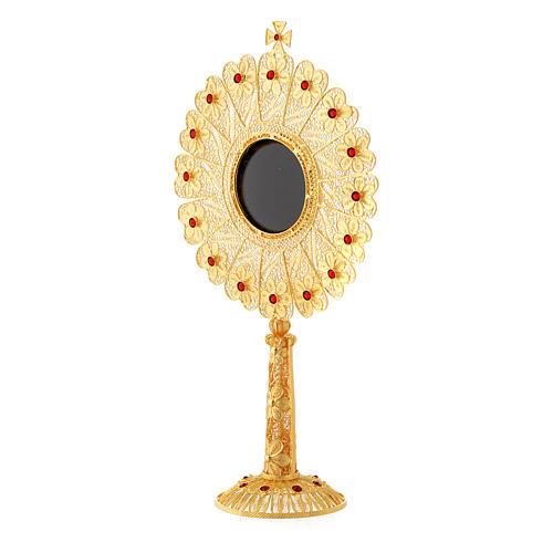 Reliquiario argento 800 dorato strass altezza 24 cm 2