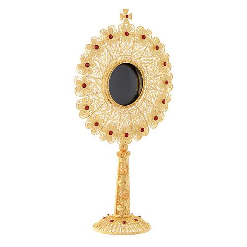Reliquiario argento 800 dorato strass altezza 24 cm 3