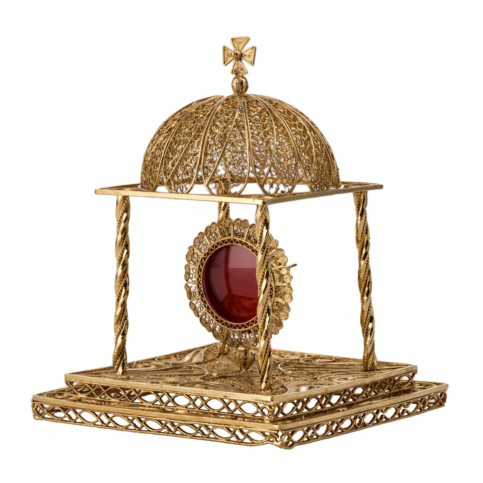 Reliquiario filigrana argento 800 dorato con base 4