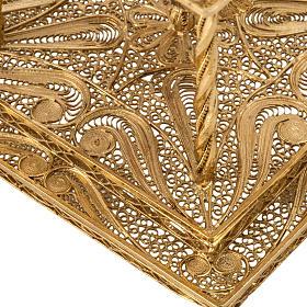 Reliquiario filigrana argento 800 dorato con base s4