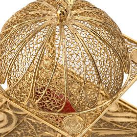 Reliquiario filigrana argento 800 dorato con base s5