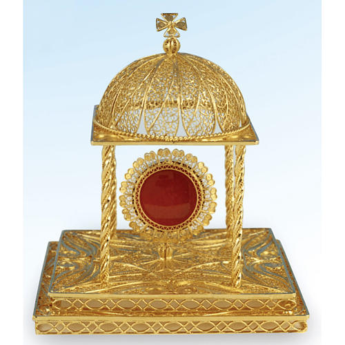 Reliquiario filigrana argento 800 dorato con base 2