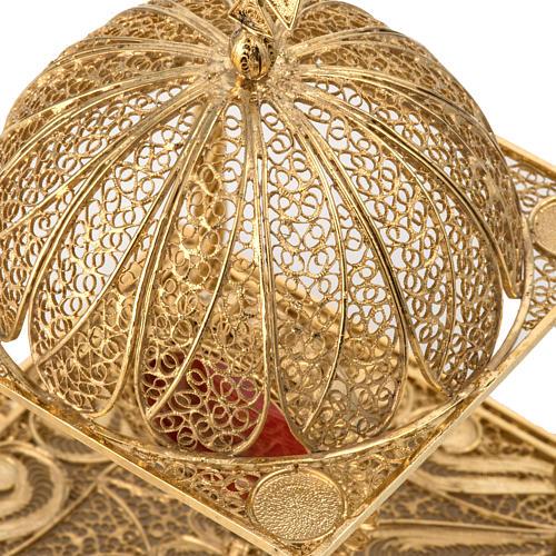 Reliquiario filigrana argento 800 dorato con base 5