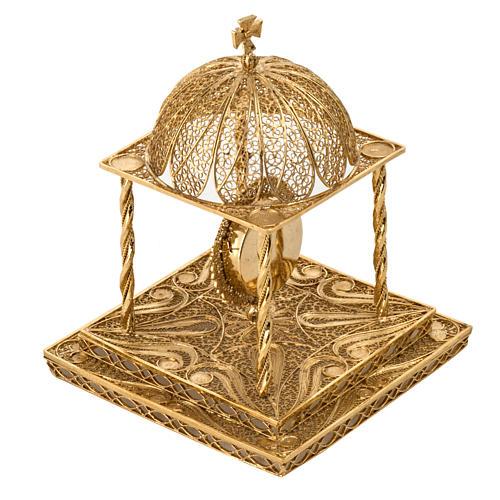 Reliquiario filigrana argento 800 dorato con base 6