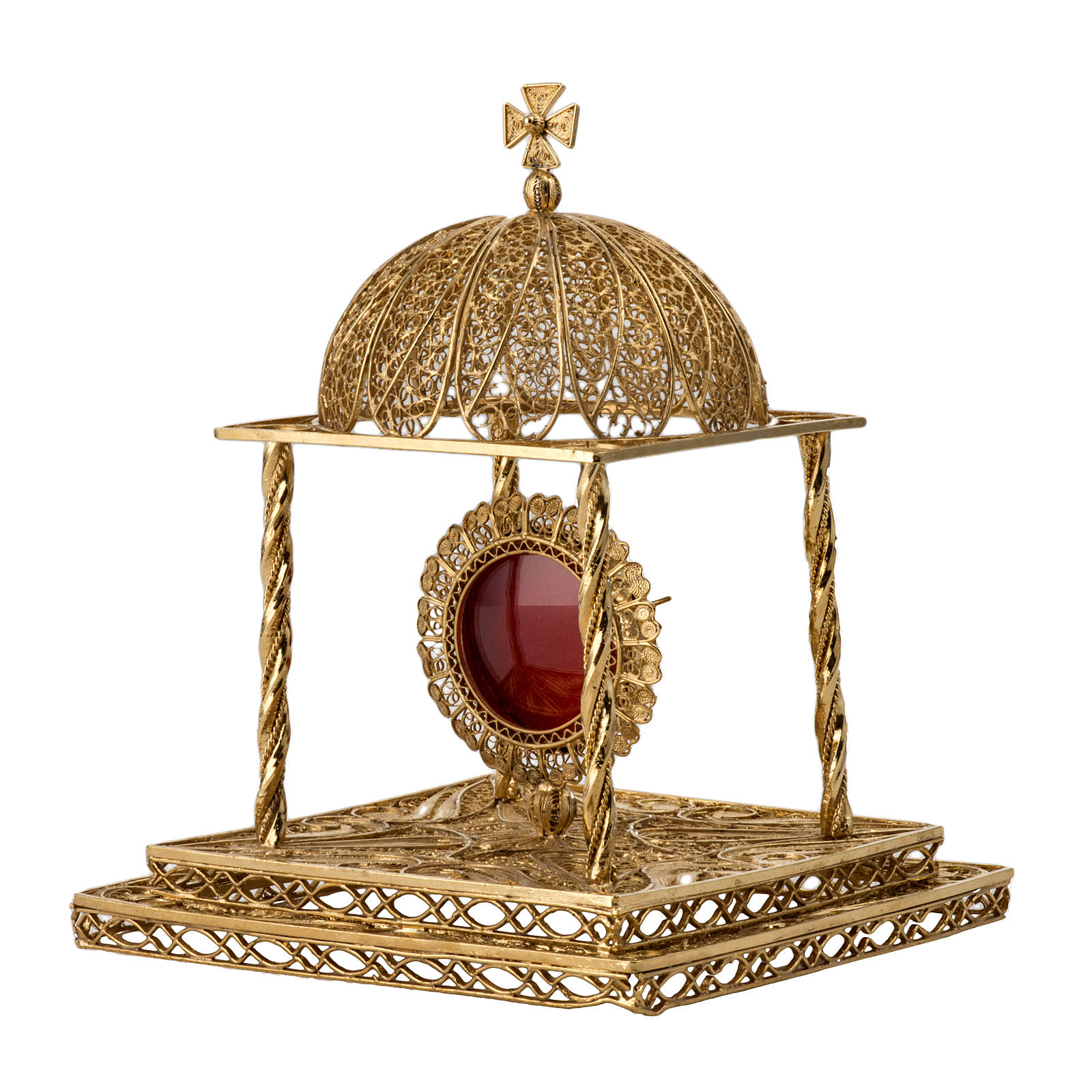 Reliquary in silver 800 with base, 24k gold plated finishing 4