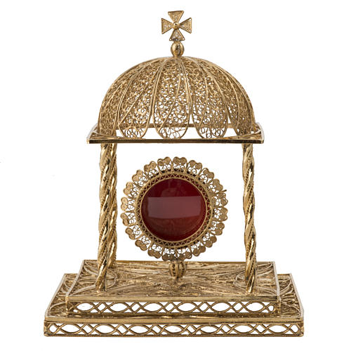 Reliquary in silver 800 with base, 24k gold plated finishing 1