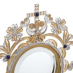 Ostensoir argent 800 lapis-lazuli lunule extractible h 36 cm s5