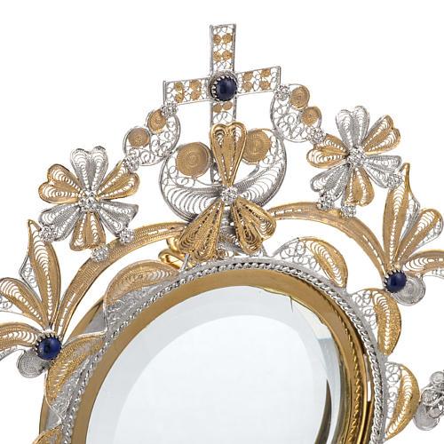 Ostensoir argent 800 lapis-lazuli lunule extractible h 36 cm 5