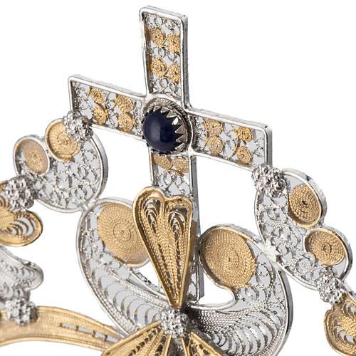 Ostensoir argent 800 lapis-lazuli lunule extractible h 36 cm 6
