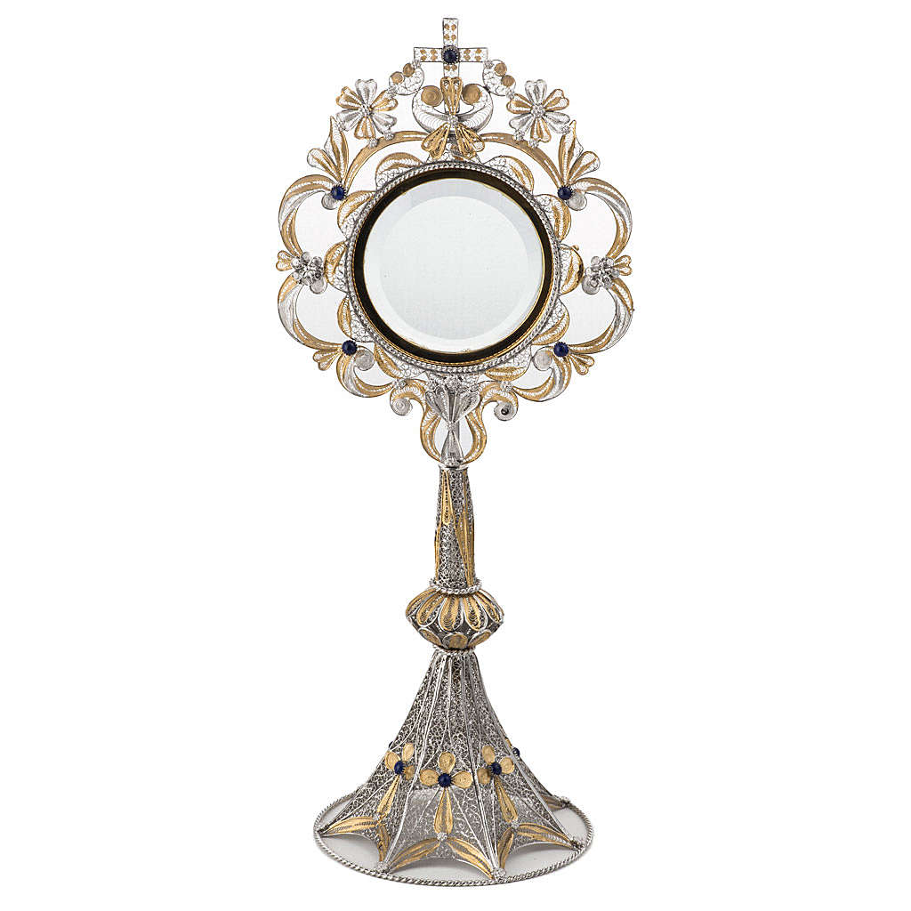 Monstrance in silver 800 filigree, removable pyx and lapis 4
