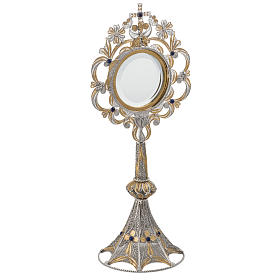 Monstrance in silver 800 filigree, removable pyx and lapis s2