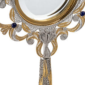 Monstrance in silver 800 filigree, removable pyx and lapis s4