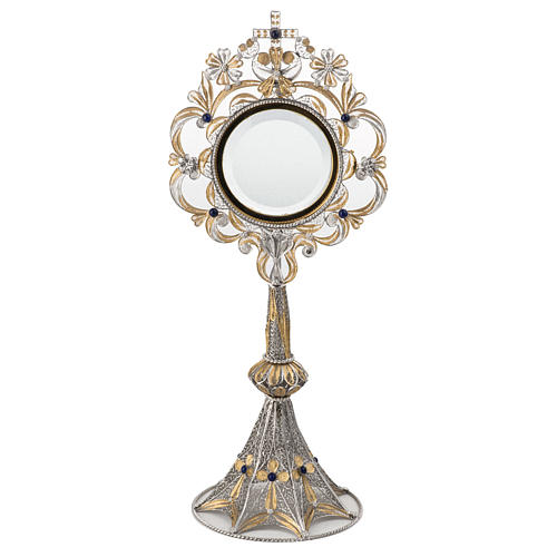 Monstrance in silver 800 filigree, removable pyx and lapis 1
