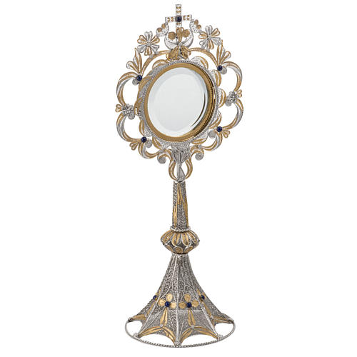 Monstrance in silver 800 filigree, removable pyx and lapis 2