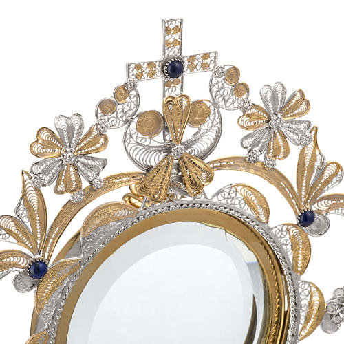 Monstrance in silver 800 filigree, removable pyx and lapis 5