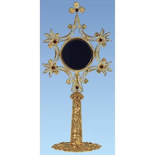 Reliquary in golden silver 800 filigree, 24 cm - 104,5 grams 1