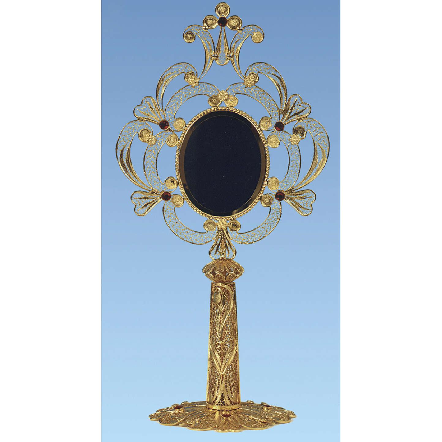 Reliquary in golden silver 800 filigree, 24 cm - 110,9 grams 4