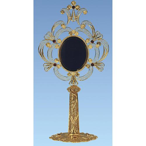 Reliquary in golden silver 800 filigree, 24 cm - 110,9 grams 1