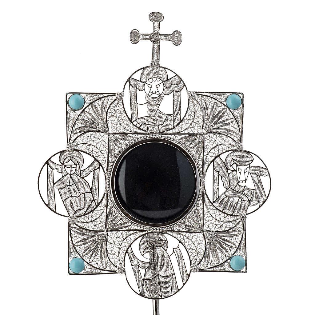 Reliquiario con croce filigrana argento 800 4