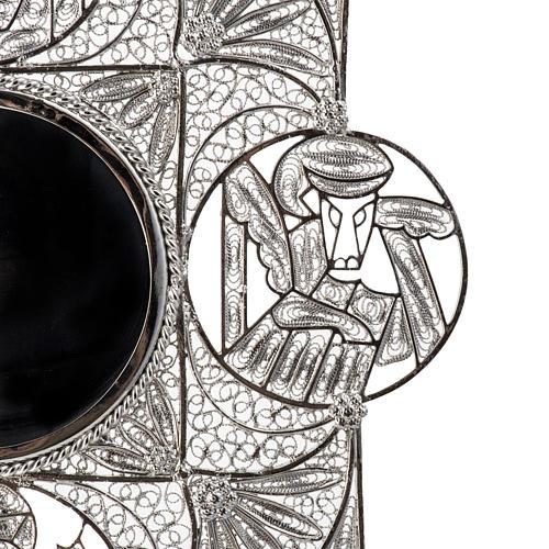 Reliquiario con croce filigrana argento 800 6