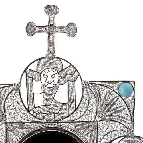Reliquiario con croce filigrana argento 800 7