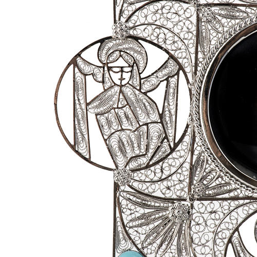 Reliquiario con croce filigrana argento 800 8
