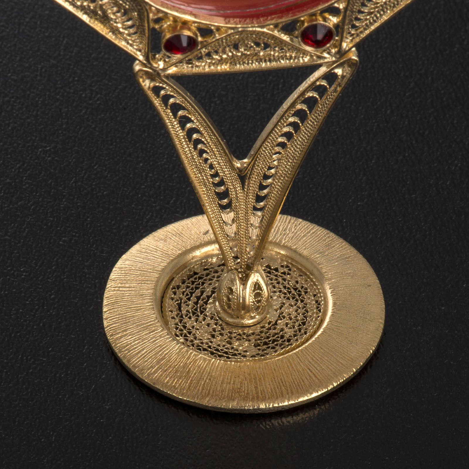 Reliquiario filigrana argento 800 dorato decori pietre rosse 4