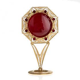 Reliquiario filigrana argento 800 dorato decori pietre rosse s1