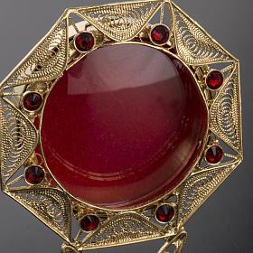 Reliquiario filigrana argento 800 dorato decori pietre rosse s3