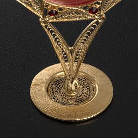 Reliquiario filigrana argento 800 dorato decori pietre rosse s4