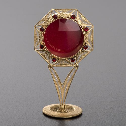 Reliquiario filigrana argento 800 dorato decori pietre rosse 2