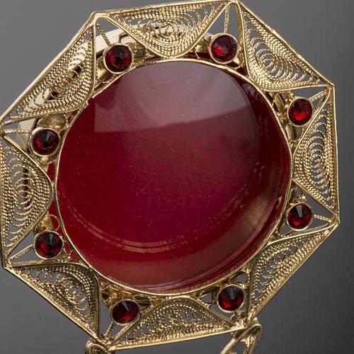 Reliquiario filigrana argento 800 dorato decori pietre rosse 3