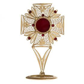 Reliquiario filigrana argento 800 ricami pietre rosse s1