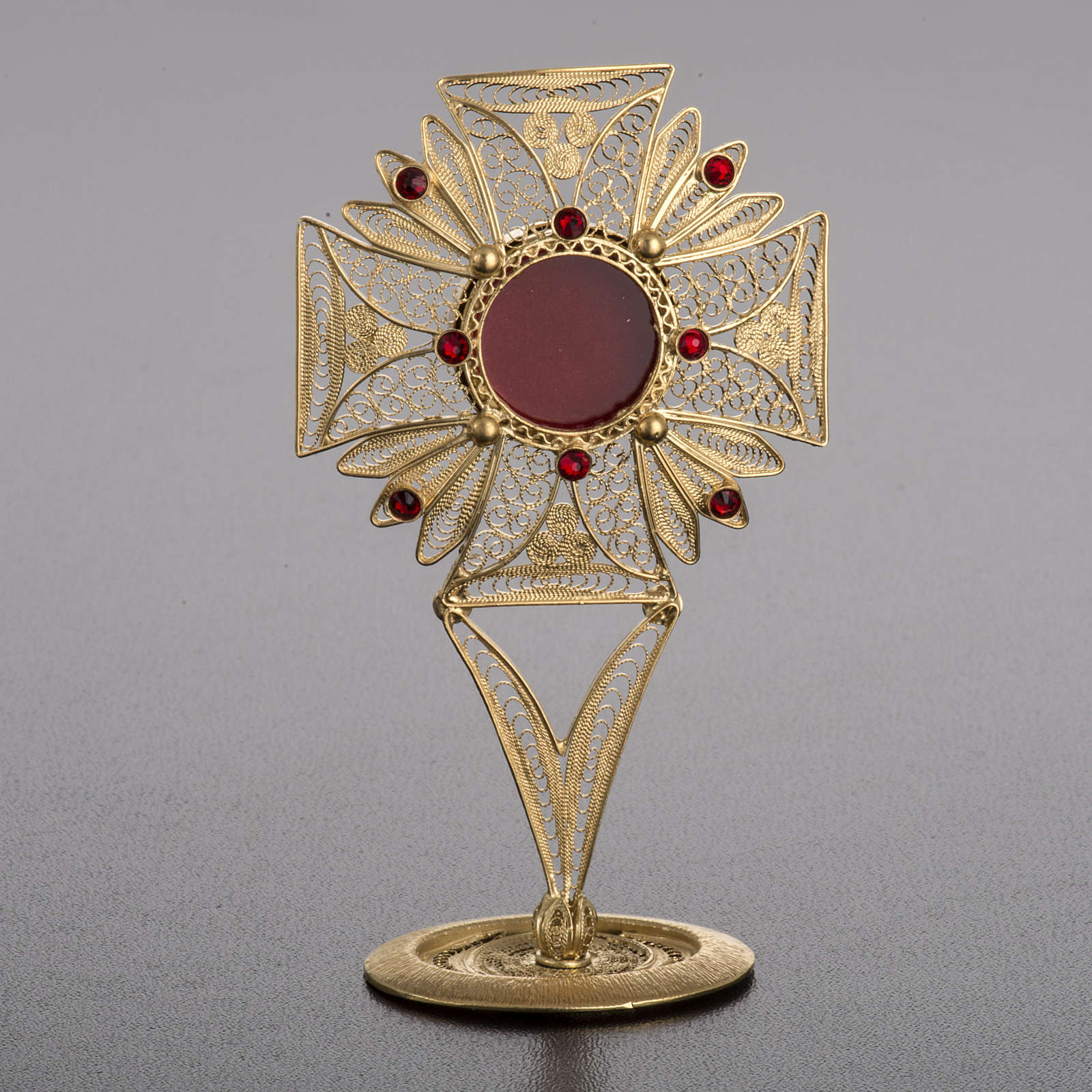 Reliquary in 800 silver filigree, decorated, red stones 4