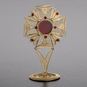 Reliquary in 800 silver filigree, decorated, red stones s2