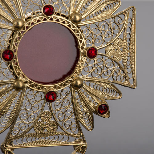 Reliquary in 800 silver filigree, decorated, red stones 3