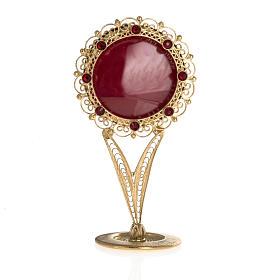 Reliquiario dorato filigrana arg. 800 pietre rosse s1
