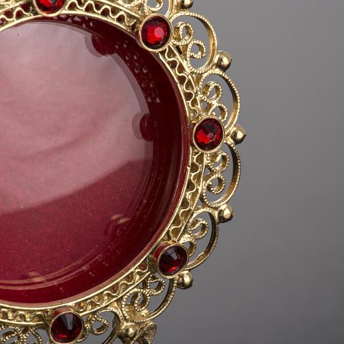Reliquiario dorato filigrana arg. 800 pietre rosse 3