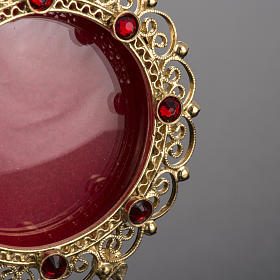 Reliquary in 800 silver filigree, gold-plated, red stones s3