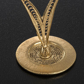 Reliquary in 800 silver filigree, gold-plated, red stones s4