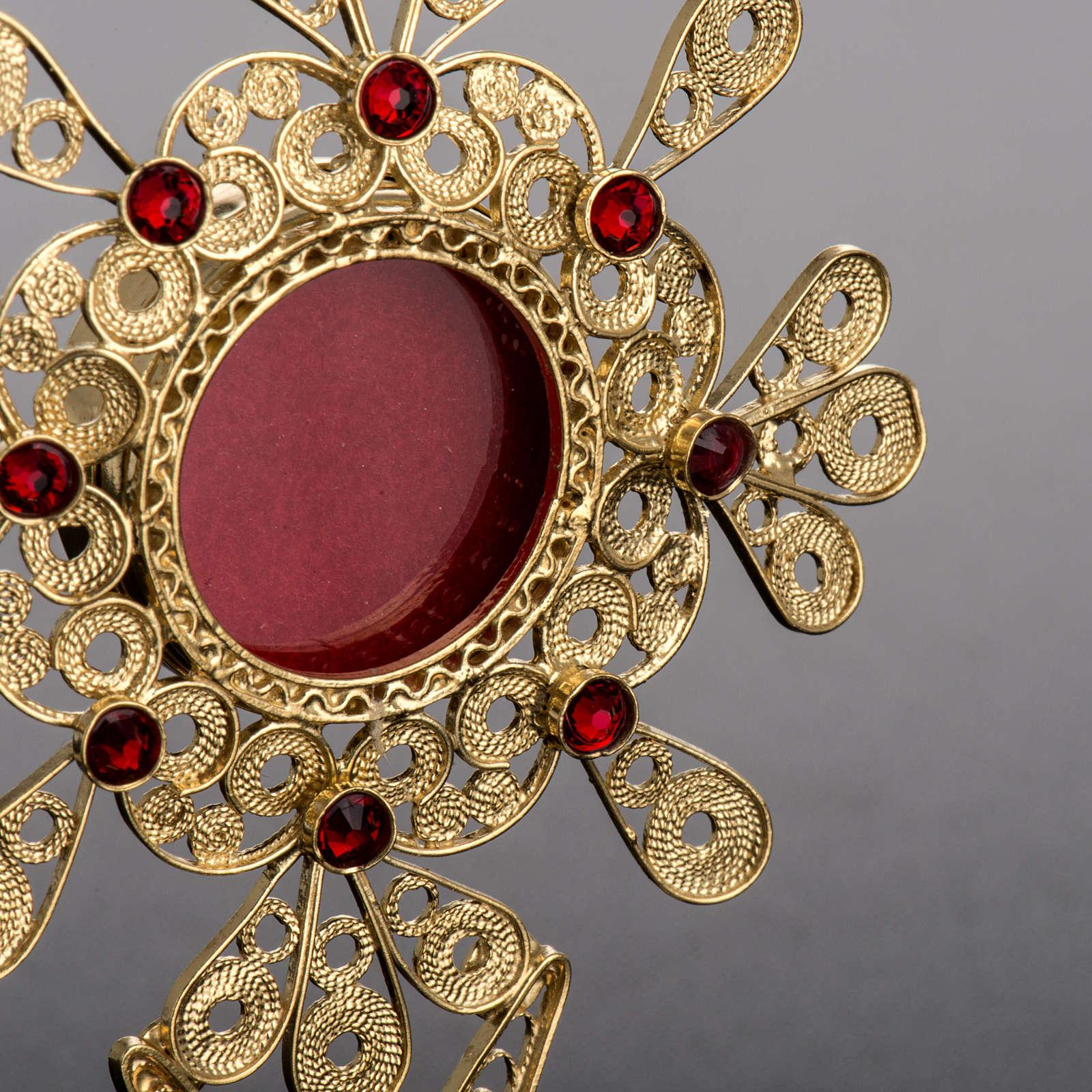 Reliquiario filigrana argento 800 petali pietre rosse 4