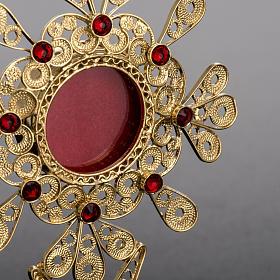 Reliquiario filigrana argento 800 petali pietre rosse s3