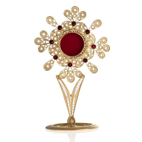 Reliquiario filigrana argento 800 petali pietre rosse 1