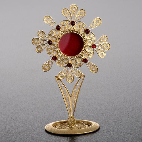 Reliquiario filigrana argento 800 petali pietre rosse 2