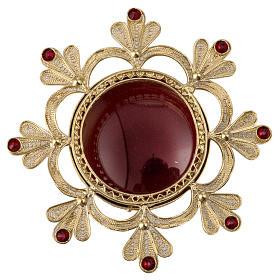 Reliquiario ottone fuso decori floreali s1