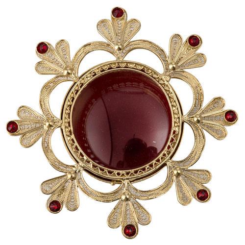 Reliquiario ottone fuso decori floreali 1
