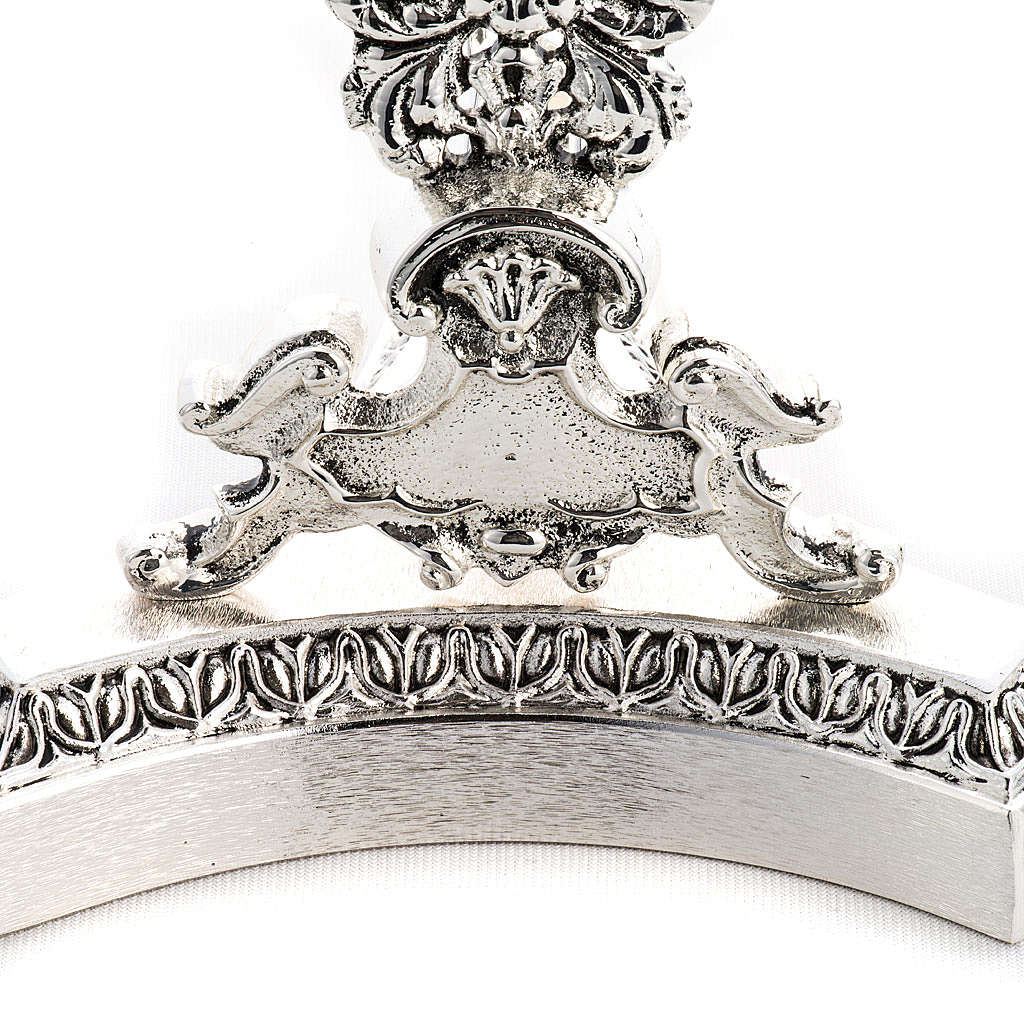 Reliquary in silver plated brass, floral decoration 4