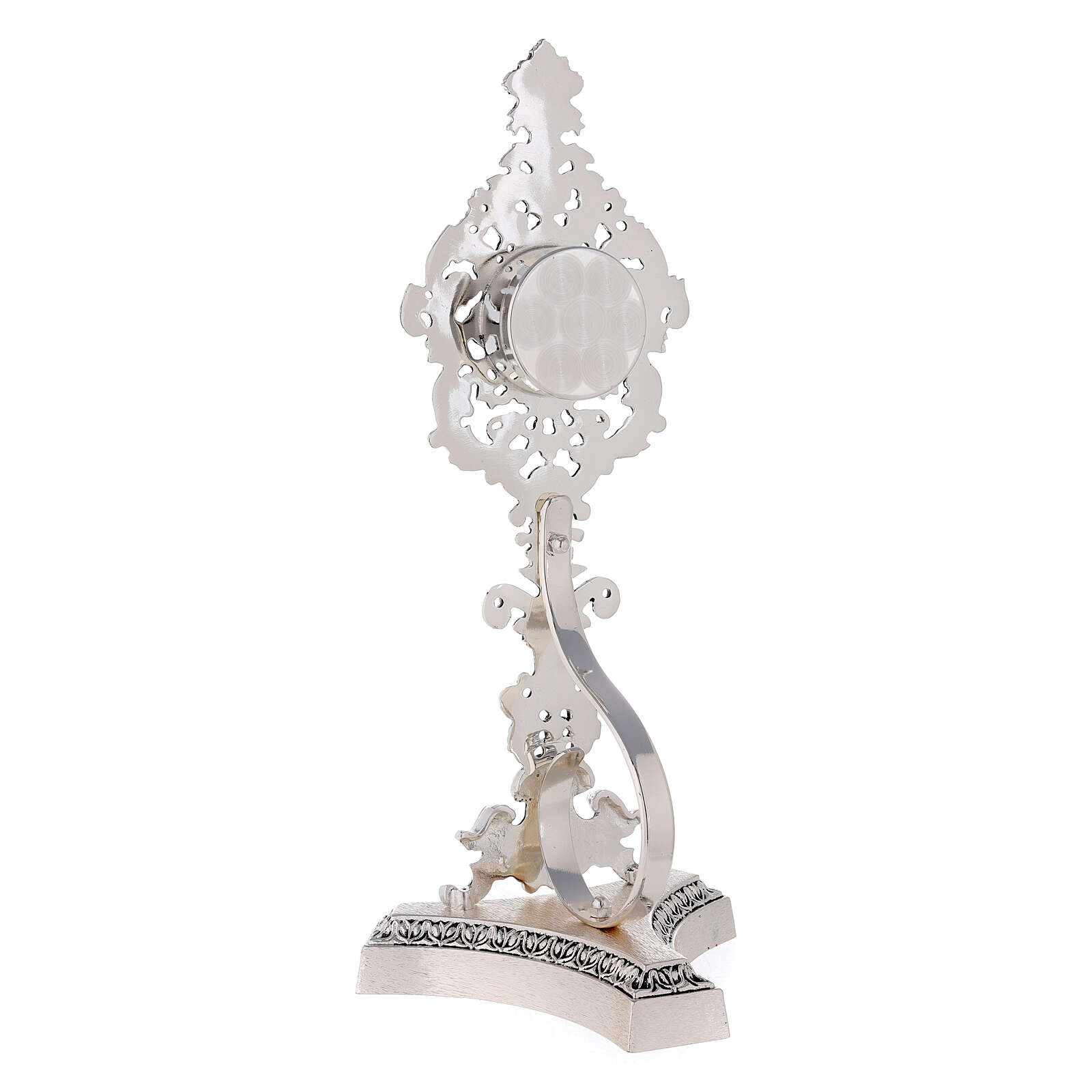 Reliquiario ottone fuso argentato decori floreali 4