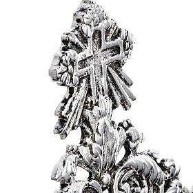Reliquiario ottone fuso argentato decori floreali s5